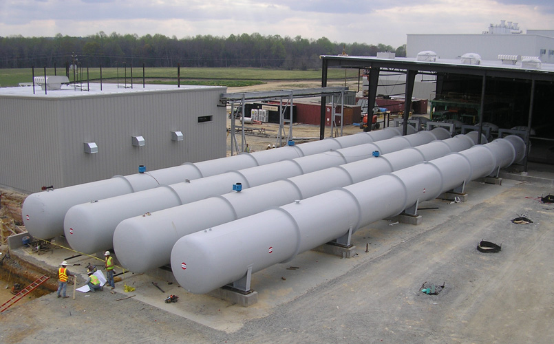 An array of concrete curing autoclaves used for Autoclaved aerated concrete (AAC)